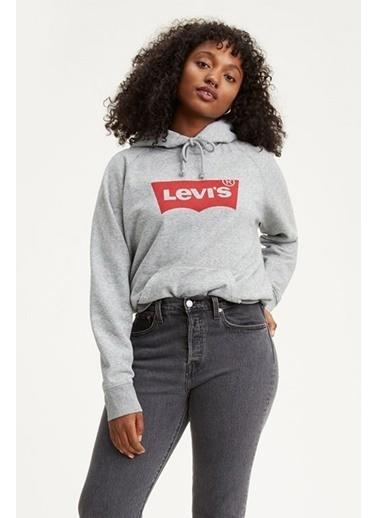 Levi's® 359460003 Logo Baskılı Kapüşonlu Pamuklu Kadın Sweatshirt Gri